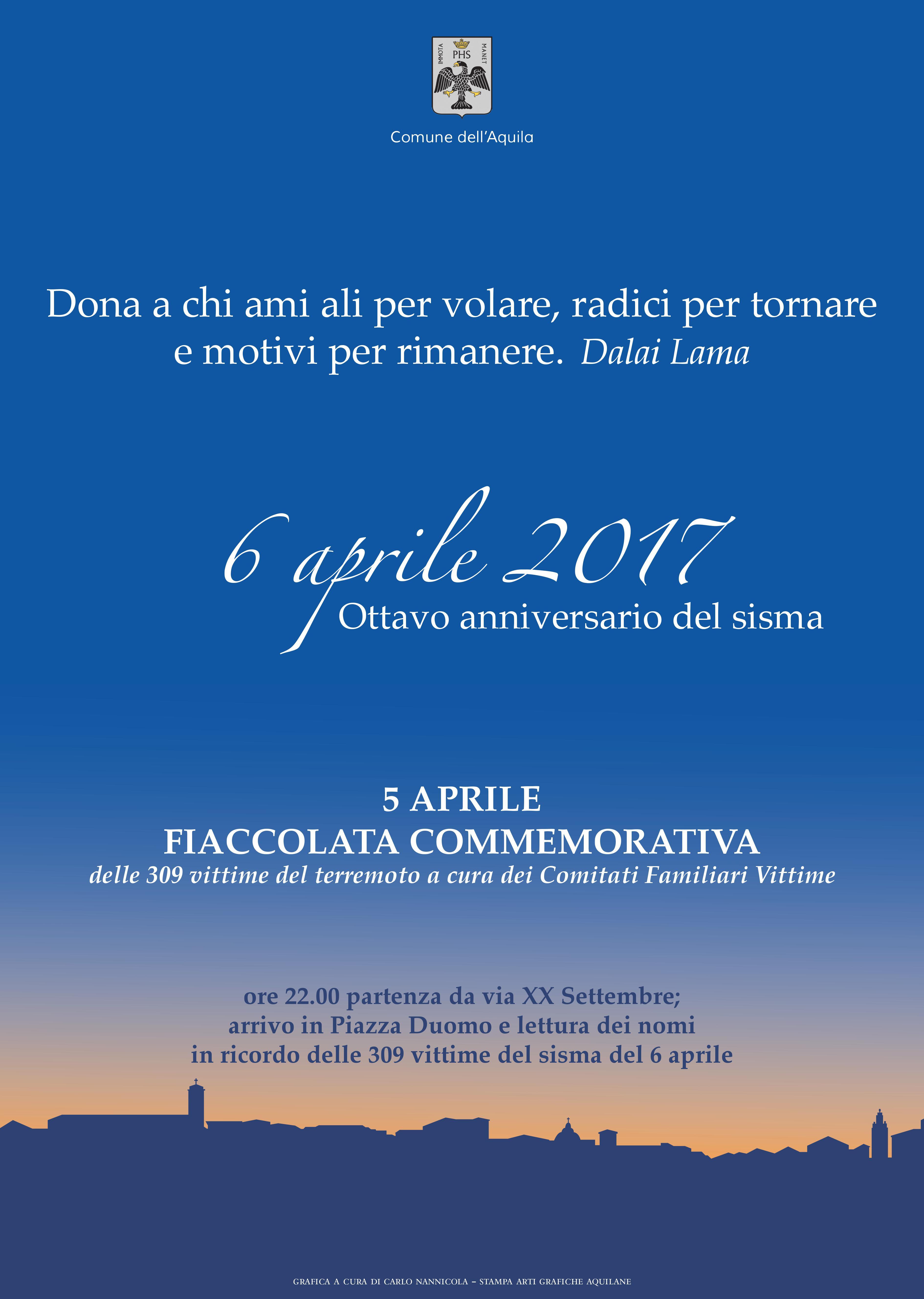 ottavo anniversario sisma locandina